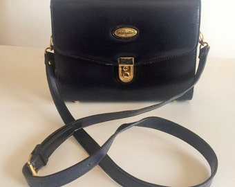 Vintage Partio Made in Italy Navy Blue Leather Top Handle Cross Body Handbag