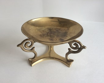Vintage Brass Console Bowl with Stand
