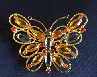 Vintage DeLizza and Elster D & E Juliana Topaz Amber and Orange Rhinestone and Gold Filigree Butterfly  Brooch Pin/Pendant