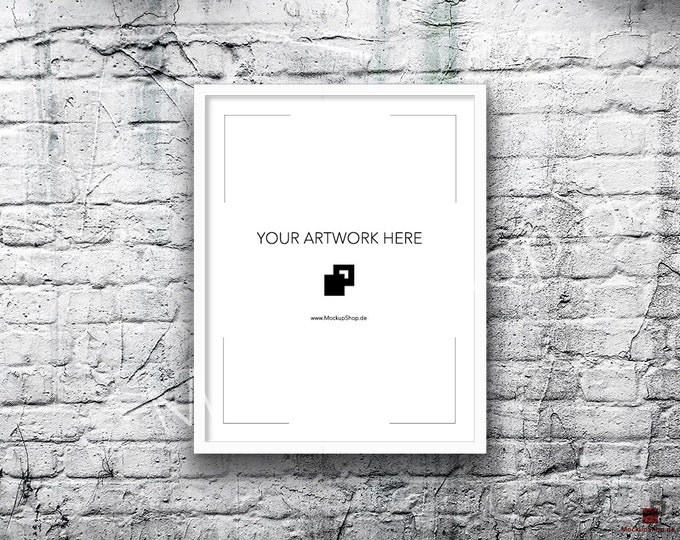 11x14 Vertical Digital WHITE FRAME MOCKUP, Styled Photography Poster Mockup, old White Brick Background, Framed Art, Instant Download