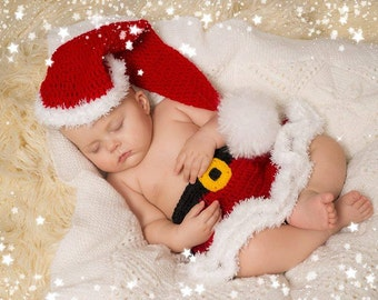 Christmas set. Newborn crochet set. Photo prop. Newborn baby Santa set. Santa Claus