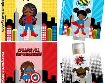 Superhero Girls Lip Balm- Set of 5 - Superhero Birthday Ideas - Superman Party - Batman Party Favors - Invitation -  Birthday Card - Favors