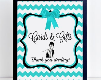 Cards and Gifts Sign Printable, Breakfast at Tiffany's, Wedding Party Favors, Bridal Shower, Bridal Party Favor, Gift Table Sign