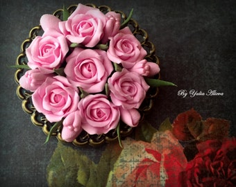 Handmade rose brooch ,Handmade rose , Antique jewelry , Polymer clay flower, Handmade jewelry, Rose pendant, Brooch with rose, Pink roses