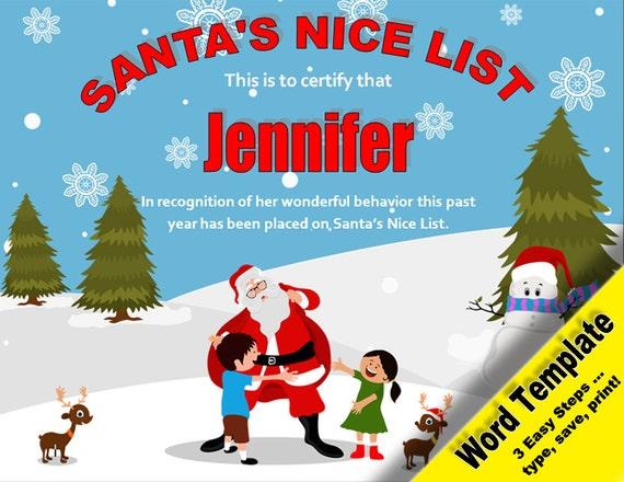 Santa's Nice List, Editable Word Template, Printable, Instant Download ...
