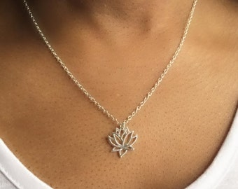 Lotus Necklace, Silver Lotus Necklace, Lotus Pendant, Layering Necklace, Boho Necklace, UK Seller,Christmas Gift