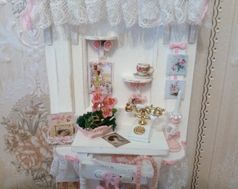 Dollhouse miniature furniture 1:12, great closet in shabby white