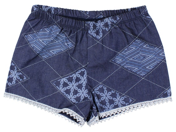 Denim Baby Shorts Girl Shorts Toddler Shorts Cluny Lace Shorts Floral Toddler Shorts Girly Tribal Floral Shorts Floral Baby Girl Gift Denim