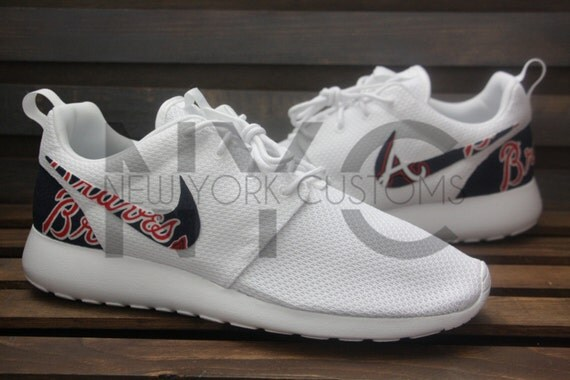 60%OFF Nike Roshe Run Triple White Atlanta Braves Custom Men