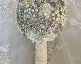 Brooch Bouquet - Crystal Brooch Bouquet - Keepsake Bouquet - Ivory Brooch Bridal Bouquet - Silver Bridal Bouquet