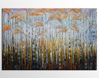 Landscape Painting, Birch Tree Painting, Oil Painting, Large Abstract Art, Extra Large Canvas Art, Canvas Painting, Living Room Oil Painting