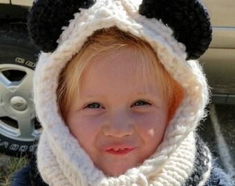 Hand knit Panda hoodie