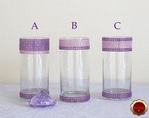 Wedding Centerpiece, Rhinestone Cylinder Vase, Bling Candle Holders, Rhinestone Vase, Floating Candle Vase, Purple & Pink Bling Vases