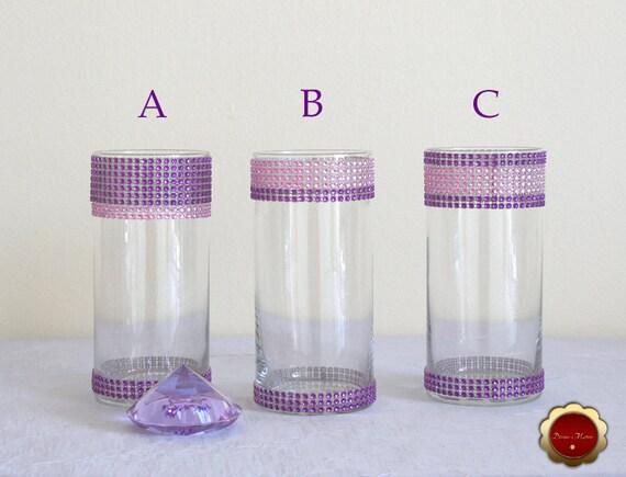 Wedding Centerpiece Rhinestone Cylinder Vase Bling Candle