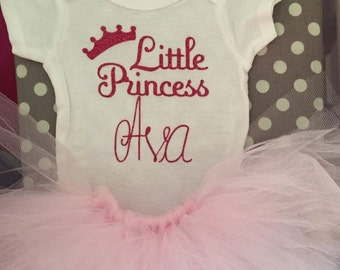 Personalized newborn  onsie with headband and tutu