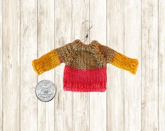 Miniature Sweater Ornament // Mini Sweaters // Brown Orange Yellow Hand Knit // Dollhouse Doll Miniatures / Womens Gifts / Unique / Handmade