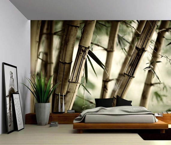 Bamboo large wall mural self adhesive vinyl wallpaper peel for Bamboo wall mural wallpaper