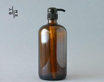 1 litre Amber Glass Bottle Soap Dispenser Pump with chalkboard label