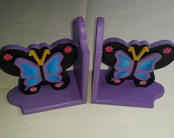 Hand painted wooden bookends