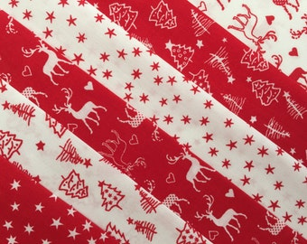 Bundle of 6 Christmas Fat Quarters - Red and White Reindeer cotton fabric - craft - quilting
