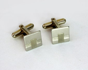 Vintage engraved cufflinks, square cuff links gold