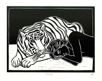 Courage - Original Linocut Print inspired by 'Life of Pi'