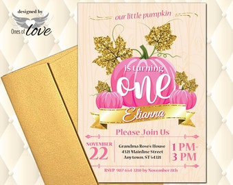 Fall Birthday Invitation, Our Little Pumpkin is Turning One, 1st, 2nd, 3rd, Pink and Gold, Pumpkin, Prints or Digital Download, autumn,