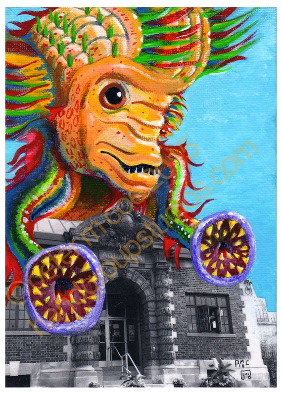 "Detroit Kaiju Fish Monster 5x7 Print ""Yatsuhaga on Belle Isle!"" Original Art by Pete Coe Aquarium Lamprey Flowerhorn Deep Sea"