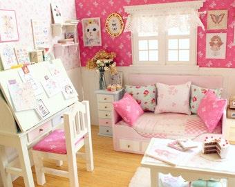 """Bedroom Diorama """"Rainbow's Dreams"""" - Blythe/Pullip/Lati/Pukifee/Yosd/BJD"""