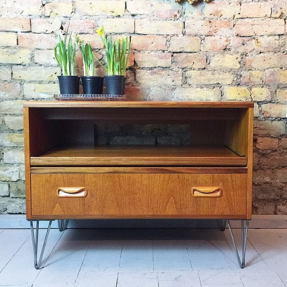 Upcycled vintage retro Gplan TV cabinet stand table industrial hairpin legs