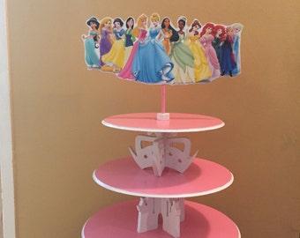 Princess Cupcake Stand, Elsa, Ariel, Belle, Anna cupcake stand