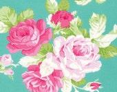 NOW IN Sadies Dance Card - Big Rose in Jade, Tanya Whelan PWTW123.JADEX Shabby Chic Fabric Floral