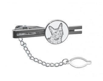 NEW! LaPerm - Tie pin with an image of a cat.