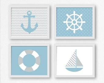 Blue and Gray Sailing Prints: Sailboat, Wheel, Anchor, Life Saver Printable Wall Art, Nautical Nursery, Kid's Room Decor, Gift for Sailor