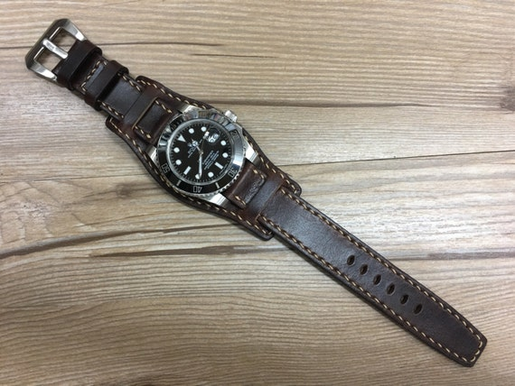 Handmade full bund Strap | Real Leather Cuff band | Cuff Band | Cuff Strap | Leather Cuff watch Strap for all Rolex, IWC in 19mm/20mm lug