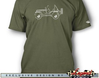Jeep CJ5 CJ-5 1954 - 1983 T-Shirt for Men - Lights of Art - Multiple colors available - Size: S - 3XL - Great American Classic Car Gift