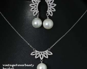 Bridal Pearl Drop Necklace Set / Wedding Jewelry / Bridesmaid gifts