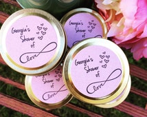 Bachelorette Party Favour | Shower of Love | Petite Gold or Silver Travel Tin | Bridal Shower Gift | Soy Wax Candles | Custom Label