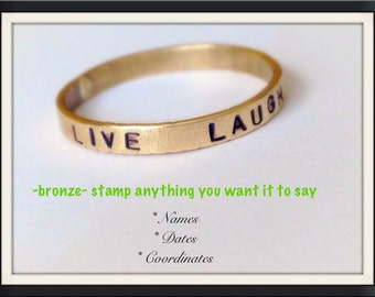Personalized bronze ring, 3mm, name ring, date ring
