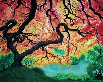 "Japanese Maple Original Art Tree Canvas Wall Art 18"" x 24"""