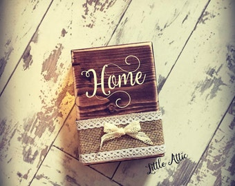 Shabby chic style wooden block for around the home or a new home gift idea