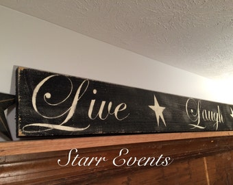 Live Laugh Love sign. Kitchen signs. Rustic kitchen signs. Kitchen decor. Rustic signs. Primitive kitchen decor. Primitive signs. Distressed