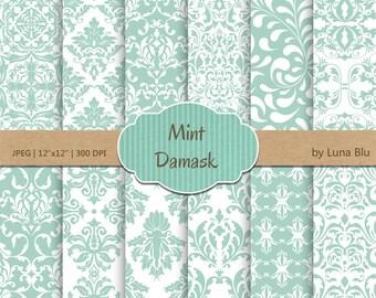 "Mint Damask Digital Paper: ""Mint Damask Patterns"" mint digital paper, for cardmaking, invitations, mint scrapbooking paper"