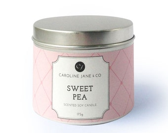 SWEET PEA - Vegan, Soy Wax Candle, Crackling wooden wick, Large Tin