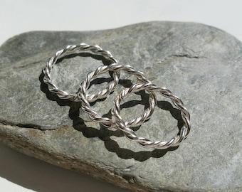 Twisted Silver Ring, Modern Ring, Minimal Silver Ring, Stacking Silver Rings, Uk Seller