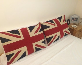 Handmade Union Jack Motif Tapestry Large Cushion Cover with Red Linen Backing - Decorative British Flag Design - Home Decor