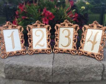 Set of 20 Table number frames 4 x 6 rose gold wedding frames ornate baroque style
