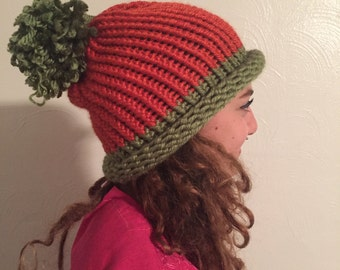 green and orange knit hat