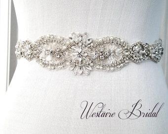 Rustic Wedding Sash Beaded bridal sash crystal wedding belt sash, Rustic Bride Style 181