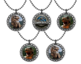 5 JURASSIC WORLD Dinosaurs 3D Bottle Cap Necklace Birthday Party Favors